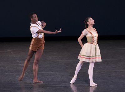 "Kennard Henson and Larisa Nugent in Balanchine's ""William Tell"" Pas de Deux (Photo credit: Paul Kolnik)"