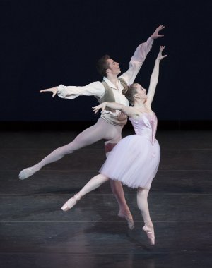 "Thomas Davidoff and Leah Christianson in Balanchine's ""Valse Fantasie""(Photo credit: Paul Kolnik)"