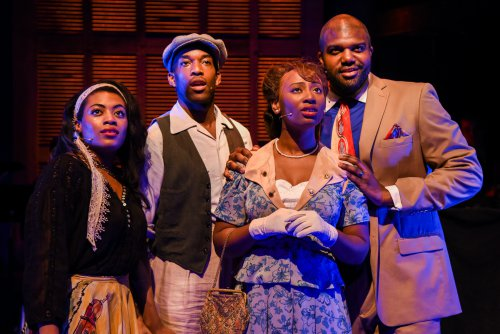 "Brittany Campbell, Britton Smith, Anita Welch and Carl Clemons-Hopkins in a scene from ""For the Last Time"" (Photo credit: Russ Rowland)"