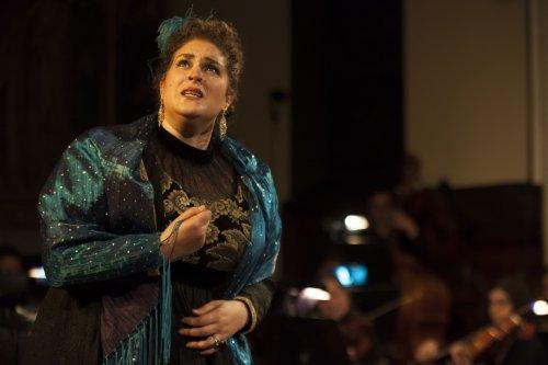"""Regina Grimalda as Floria Tosca in a scene from Chelsea Opera's """"Tosca""""(Photo credit: Robert J. Saperstein)"""