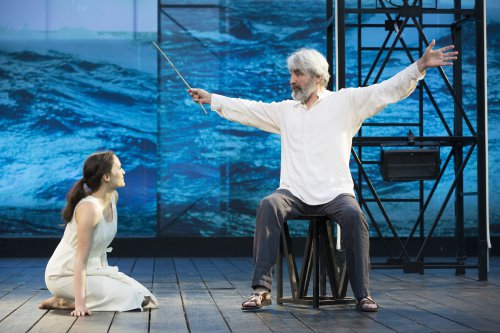 "Francesca Carpanini as Miranda and Sam Waterston as Prospero in a scene from ""The Tempest"" at the Delacorte Theater (Photo credit: Joan Marcus)"