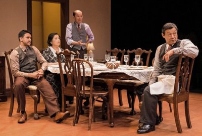 "Sanjit De Silva, Mia Katigbak, Henry Yuk and James Saito in a scene from NAATCO's revival of Clifford Odets'  ""Awake and Sing!"" (Photo credit: William P. Steele)"