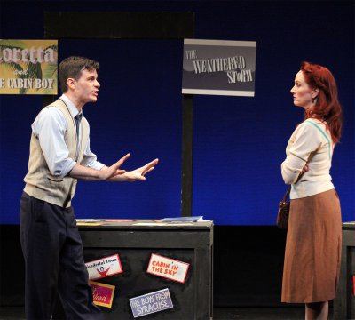 """Chris Gleim and Mary Mossberg in a scene from the musical """"What Do Critic Want?"""" (Photo credit: Nick Tighe)"""