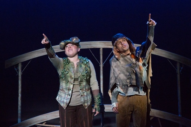 "Brooke Shapiro as Bittle and Zachary Infante as Bora-Boh in a scene from ""The Calico Buffalo"" (Photo credit: Shira Friedman)"