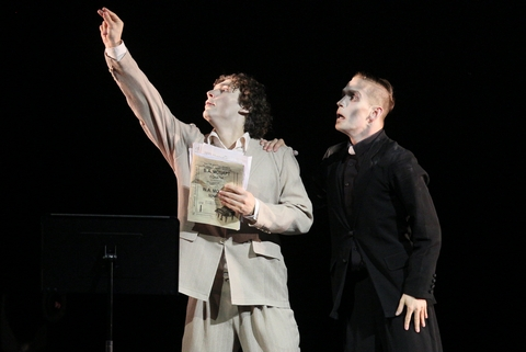 "Ivan Vasliev and Vladimir Varnava in a scene from Varnava's ""Mozart & Salieri"" (Photo credit: Stas Levshin)"