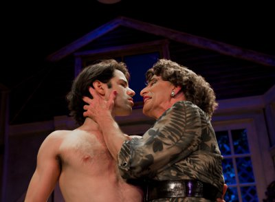 "Jason Cruz and Everett Quinton in a scene from ""Drop Dead Perfect"" (Photo credit: John Quilty)"