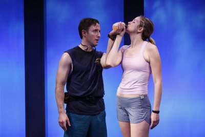 "J.J. Kandel and Clea Alsip in a scene from Neil LaBute's ""10K"" (Photo credit: Carol Rosegg)"