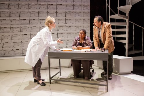 """Tina Benko, Myra Lucretia Taylor and Jesse J. Perez in a scene from """"Informed Consent"""" (Photo credit: James Leynse)"""