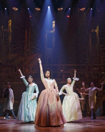 "Phillipa Soo, Renée Elise Goldsberry and Jasmine Cephas Jones in a scene from ""Hamilton"" (Photo credit: Joan Marcus)"