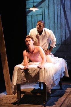 "John Skelley and Yaegel T. Welch in a scene from Marcus Gardley's ""Desire Quenched by Touch"" (Photo credit: Carol Rosegg)"