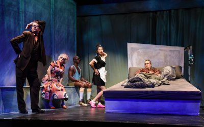 """Ian Gould, Marilyn Sokol, Serge Thony, Rebeca Fong and Christopher Daftsios in a scene from """"In Bed with Roy Cohn"""" (Photo credit: Russ Rowland)"""