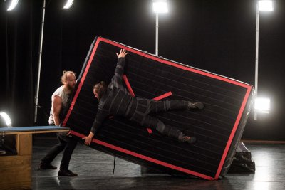 Magnus Bjoru and Manu Tiger in a scene from Attached by Magmanus (Photo credit: Ian Douglas)
