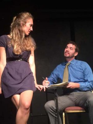 "Cleo Handler and Joshua Schwartz in a scene from  Rebecca Gilman's ""Blue Surge"" (Photo credit: Miah Gonzales)"