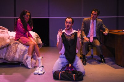 "Gizel Jimenez, Jonathan Silver and Tommy Schrider in a scene from ""Unseamly"" (Photo credit: Russ Rowland)"