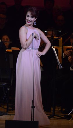 "Sierra Boggess as she sang ""I Enjoy Being a Girl"" from ""Flower Drum Song"" with the New York Pops (Photo credit: Maryann Lopinto)"