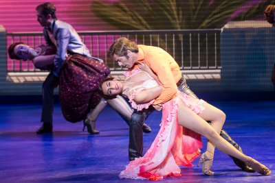 "Yesenia Ayala and David Elder as they perform ""The Girl from Ipanema"" in ""Trip of Love"" (Photo credit: Matthew Murphy)"