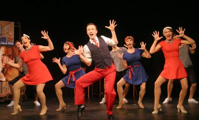 "Elliot Marach, Katie Mcbane Harvey, Samantha Gershman, Nic Thompson, Meghan Glogower and Sarah Claire Smith as the perform Gershwins' ""Clap Yo' Hands"" number in the Musicals Tonight! revival of ""Oh, Kay!"" (Photo credit: Michael Portaniere)"