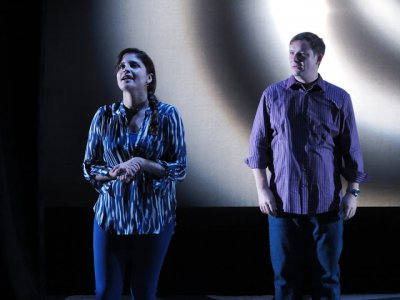 "Ivette Dumeng and Ben Gougeon in a scene from ""Half Moon Bay"" (Photo credit: Jonathan Slaff)"