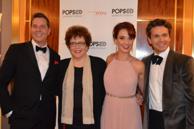 "Maestro Steven Reineke, Judith Clurman (Music Director, Essential Voices), soprano Sierra Boggess and baritone Julian Overden as they appeared in The New York Pops concert ""My Favorite Things: The Songs of Rodgers and Hammerstein"" (October 9, 2015) (Photo credit: Maryann Lopinto)"