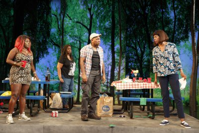 "Heather Alicia Simms, Benja Kay Thomas, Marc Damon Johnson and Kim Wayans in a scene from Robert O'Hara's ""Barbecue"" now at the Public Theater (Photo credit: Joan Marcus)"