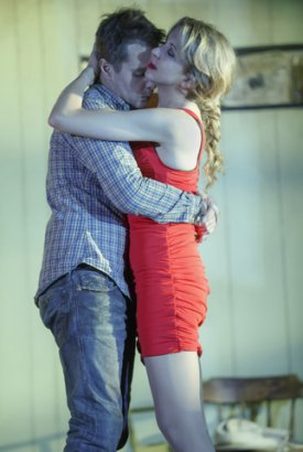 "Sam Rockwell and Nina Arianda in a scene from ""Fool for Love"" (Photo credit: Joan Marcus)"