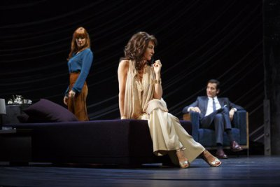 "Kelly Reilly, Eve Best and Clive Owen in a scene from Harold Pinter's ""Old Times"" (Photo credit: Joan Marcus)"