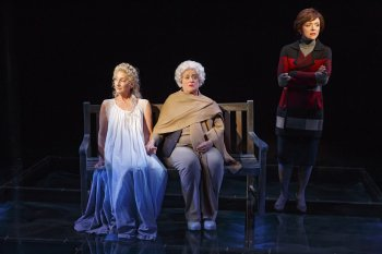 "Theresa McCarthy as Robin Bush, Mary Testa as Barbara Bush and Rachel Bay Jones as Laura Bush in a scene from ""In the Deep Bosom of the Ocean Buried,"" the final musical in ""First Daughters Suite"" (Photo credit: Joan Marcus)"