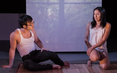 "Jeffrey Omura and Jennifer Ikeda in a scene from Charles Francis Chan, Jr.""s Exotic Oriental Murder Mystery (Photo credit: William P. Steele)"