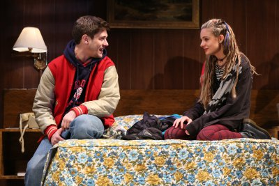 """Josh Green and Lizzy DeClement in a scene from John Pollono's """"Lost Girls"""" (Photo credit: Joan Marcus)"""