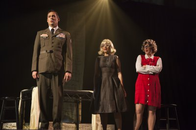 "Peter Kendall Clark, Kate Oberbat and Martha Guth in a scene from ""Glory Denied"" (Photo credit: Robert J. Saperstein)"