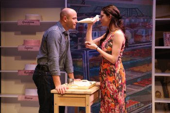 """Christian Thom and Lauren Nicole Cipoletti in a scene from """"How Alfo Learned to Love"""" (Photo credit: Carol Rosegg)"""
