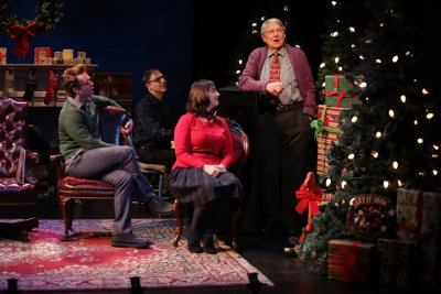 """Ashley Robinson, Mark Hartman at the piano, Jacque Carnahan and John Collum in a scene from the Irish Repertory Theatre's """"A Child's Christmas in Wales"""" (Photo credit: Carol Rosegg)"""