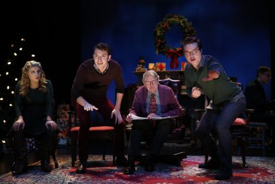 """Katie Fabel, Kenneth Quinney Francoeur, John Collum and Ashley Robinson in a scene from the Irish Repertory Theatre's """"A Child's Christmas in Wales"""" (Photo credit: Carol Rosegg)"""