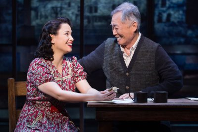 "Lea Salonga and George Takei in a scene from ""Allegiance"" (Photo credit: Matthew Murphy)"