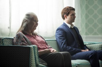 """Noah Bean and Lois Smith in a scene from """"Marjorie Prime"""" (Photo credit: Jeremy Daniel)"""