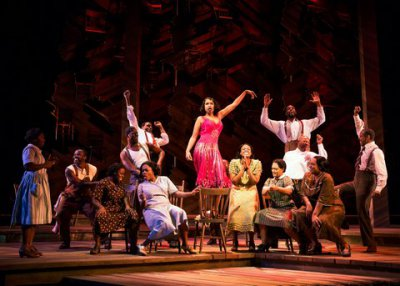 "Jennifer Hudson (center) and the company of ""The Color Purple"" (Photo credit: Matthew Murphy)"