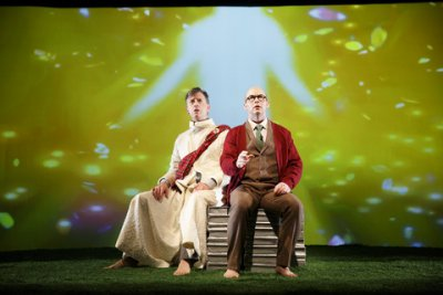 "Michael Frederic and Joel Rainwater in a scene from ""The Great Divorce"" (Photo credit: Joan Marcus)"