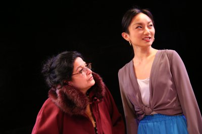 "Elise Stone as Granny and Poppy Liu as Paulina in a scene from Glyn Maxwell's ""The Gamblers"" based on the novella by Dostoyevsky (Photo credit: Gerry Goodstein)"