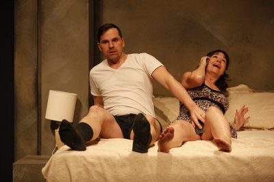 "Justin Ivan Brown and Jenny Smith in Nancy Bell and Peter Grandbois' ""Present Tense"" (Carol Rosegg)"