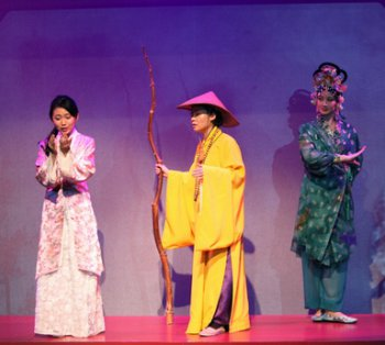 "Kelsey Wang, E.J. An and Mandarin Wu in a scene from Pan Asian Repertory Theatre's production of ""A Dream of Red Pavilions"" (Photo credit: George Quincey Lee)"