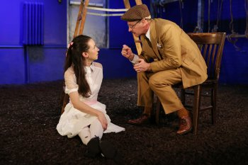 "Kristen Sieh as Emily and Martin Moran as Thornton Wilder in a scene from ""O, Earth"" (Photo credit: Julieta Cervantes)"