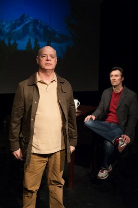 "John E. Brady and Jeffrey C. Wolf in a scene from ""Chatting with the Tea Party"" (Photo credit: Matthew Dunivan)"