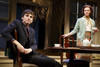 "Timothée Chalmet and Annika Boras in a scene from John Patrick Shanley's ""Prodigal Son"" (Photo credit: Joan Marcus)"