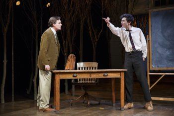 "Robert Sean Leonard and Timothée Chalamet in a scene from John Patrick Shanley's ""Prodigal Son"" (Photo credit: Joan Marcus)"