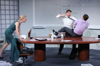 "Carrie Paff, Michael Ray Wisely and Mark Anderson Phillips in a scene from ""Ideation"" (Photo credit: Carol Rosegg)"