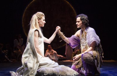 """Gia Crovatin and Christian Camargo in a scene from Trevor Nunn's production of """"Pericles"""" (Photo credit: Henry Grossman)"""