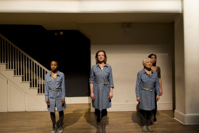 "Mirirai Sithole, Orlagh Cassidy, Kitty Chen and Caitlin Cisco in a scene from ""The Hundred We Are"" (Photo credit: Derek Van Heel)"