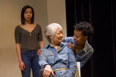 "Caitlin Cisco, Kitty Chen and Mirirai Sithole in a scene from ""The Hundred We Are"" (Photo credit: Derek Van Heel)"