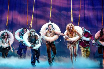 """Catherine Ricafort, Roger Bart, Baylee Littrell, Seth Rudetsky, Rachel York, Kevin Chamberlain and Olivia Phillip in a scene from """"Disaster!"""" (Photo credit: Jeremy Daniel Photography)"""