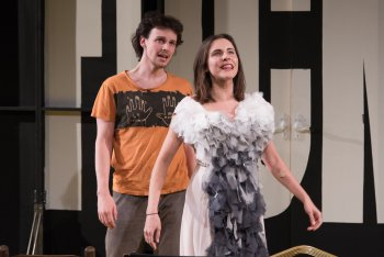 """Christopher Sears and Marianna McClellan in a scene from """"Stupid Fu**ing Bird"""" (Photo credit: Russ Rowland)"""